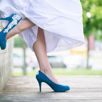Wedding Shoes - Teal Blue Wedding Shoes with Ivory Lace. US Size 7.5