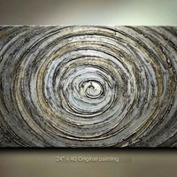 Original Abstract Landscape Metallic Silver gold by tjenkinsarts