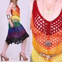 Vtg RAINBOW CROCHET Cutout SHEER Lace PLUNGING Hippie Boho FESTIVAL Midi Dress