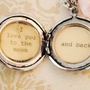 I love you to the moon and back - Girl's Locket - in antique silver - pink beads