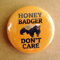 "Honey Badger Don't Care meme - 1.75"" Badge / Button"