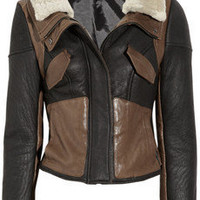 Tibi|Leather-paneled shearling biker jacket|NET-A-PORTER.COM
