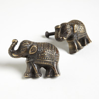 Antique Brass Elephant Knobs, Set of 2