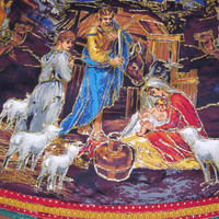 Beautiful Handmade Nativity Christmas Tree Skirt