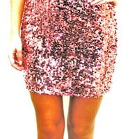Tiffany Rose Pink Sparkly Sequin Mini Skirt