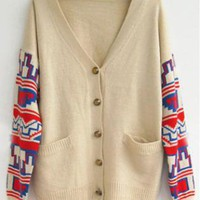 Vintage Geometric Pattern Beige Cardigan   S003287