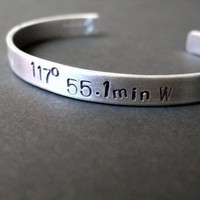 Sterling Silver GPS Coordinates Cuff Bracelet | Spiffing Jewelry