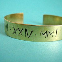 Roman Numeral Date Wide Cuff Bracelet | Spiffing Jewelry