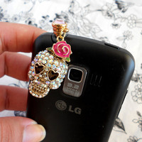 Sugar Skull Betsey Johnson Rose Inspired iphone ipod dust plug charm
