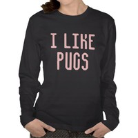 I Like Pugs Women&#x27;s Jersey Long Sleeve T-Shirt from Zazzle.com