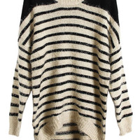 ROMWE | Knitted Stripe Magyar Sleeve Apricot Jumper, The Latest Street Fashion