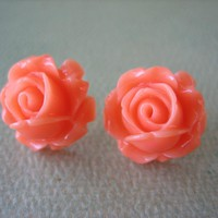 Adorable Cabbage Rose Earrings - Co.. on Luulla