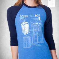 Tardis Blueprints Long Sleeve T Shirt Unisex american apparel S M L XL