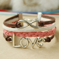 Infinity Bracelet-LOVE Bracelet ,coffee love symbol bracelet-pink and brown combination bracelet  gift for girls