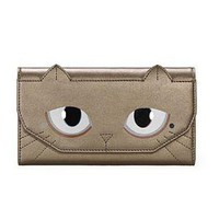 Golden Rectangular Oxhide Purse | Choies