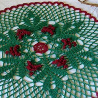 Holly Berries and Leaves Holiday Doily - Round Placemat - Centerpiece