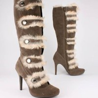 suede finish fur trim boot &amp;#36;34.40 in BLACK TAUPE - Boots | GoJane.com