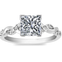 Engagement Ring - Princess Diamond Petite twisted pave band Engagement Ring in 14K White Gold - ES873PRWG