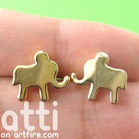 Small Elephant Animal Stud Earring 4 Piece Set with Green Studs
