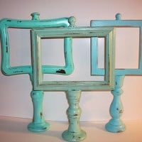 3 Small Beach Themed Up Cycled Candle Stick Picture Frames