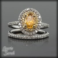 Citrine, Yellow Sapphire and Diamond Wedding Set - November Birthstone - LS1464