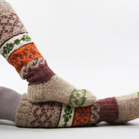 Knee high knitted socks with Scandinavian ornaments for women gift for her