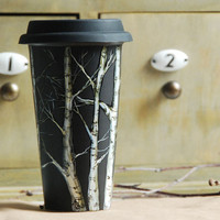 Eco-Friendly  Black Ceramic Coffee Mug - Birch Trees - made to order