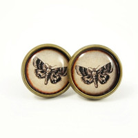Butterfly Earring Studs - Rustic Earring Posts - Forest Woodland Nature - Free Shipping Etsy