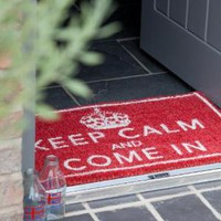 Keep Calm and Come In Doormat - Rose & Grey