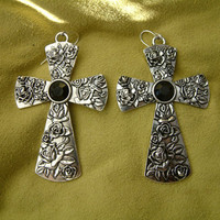 Black Silver Cross Earrings