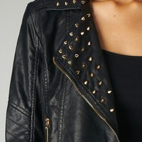 Black Faux Leather Biker Jacket with Stud Embellishment