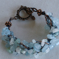 Chunky  Braided Crochet Bracelet with Aquamarine Chips
