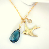 London blue topaz gold love bird necklace charm