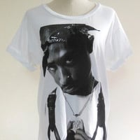 2Pac Shirt -- Tupac Shakur Rap Hip Hop Gang Rap Hip Hop Shirt Music Tee Shirt White T-Shirt Women T-Shirt Men T-Shirt Music T-Shirt Size S