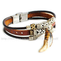 jewelry bangle leather bracelet men bracelet buckle bracelet Cuff made of leather ,teeth,Metal, wrist bracelet  SH-00000027