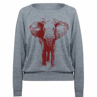 Womens Sweatshirt ELEPHANT Tri-Blend Pullover - American Apparel - S M L (8 Color Options)