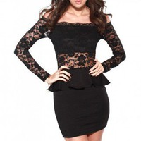 Stretch Lace Off Shoulder Peplum Dress