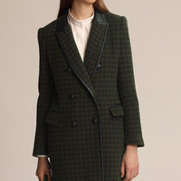 ROMWE | Retro Plover Lattices Green Woolen Coat(Coming Soon), The Latest Street Fashion
