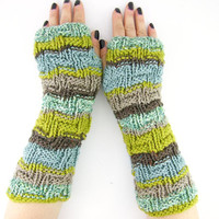 knit fingerless gloves arm warmers fingerless mittens fall mint aqua tan brown chartreuse green curationnation