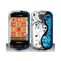 Samsung Brightside U380 (Verizon) Blue/Silver Vines Design Hard Case Snap On Protector Cover