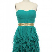 Flamenco Waves Dress in Teal