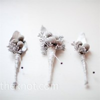 Real Weddings - A Winter Wedding in St. Louis, MO - White Winter Boutonnieres