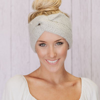 Knitted Headband Ear Warmer Grey Twist Turband Style Cozy Pinterest Favorite