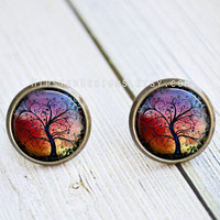 Antique Bronze Stud Earrings - Abstract Rainbow Tree Of Life Art