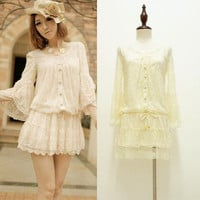 Sweetie Vivi Japanese Korean Luxury Long Sleeve Lace Layered Creamy Tunic Dress