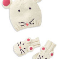 Mini Boden Animal Hat & Mittens Set (Infant) | Nordstrom