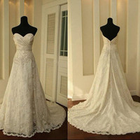 Vintage A LINE Lace Wedding Dress Bridal Gown Bridesmaid Dress Evening Prom Dress
