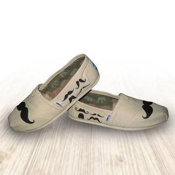 "Custom Painted ""Mustache"" Toms Shoes"