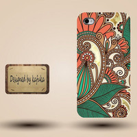 Iphone case, Iphone 4 case, Iphone 4s case, Iphone 5 case, unique handmade hard Plastic case, indian floral pattern,p 112