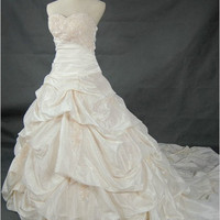 Ball gown Sweetheart Cathedral Train Taffeta Lace Wedding Dress With Ruffle Beading Free Shipping